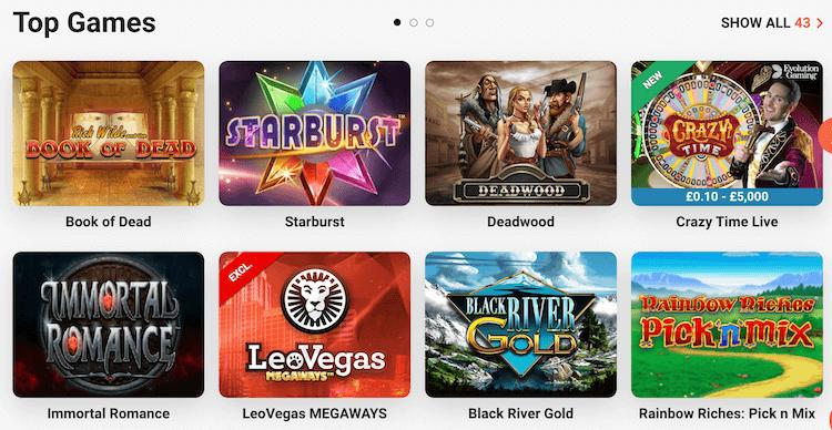 LeoVegas Casino Top Games