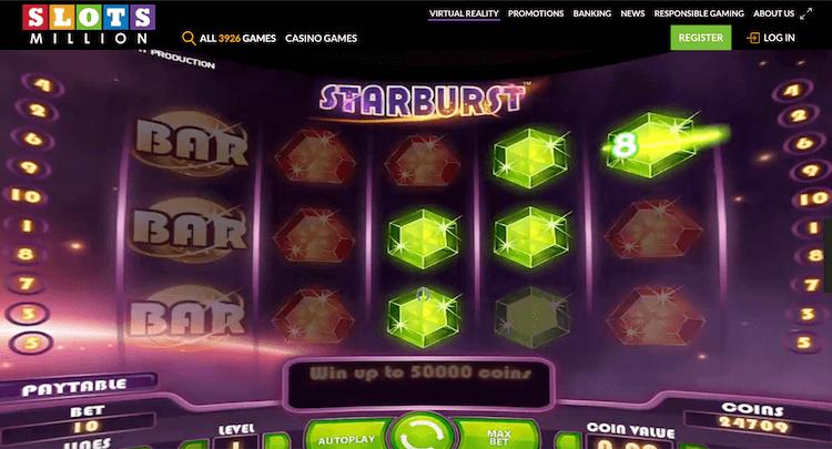 SlotsMillion Starburst Virtual Reality