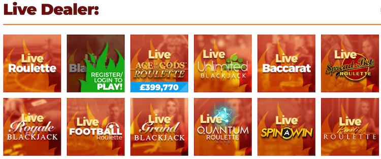Chilli Casino Live Games