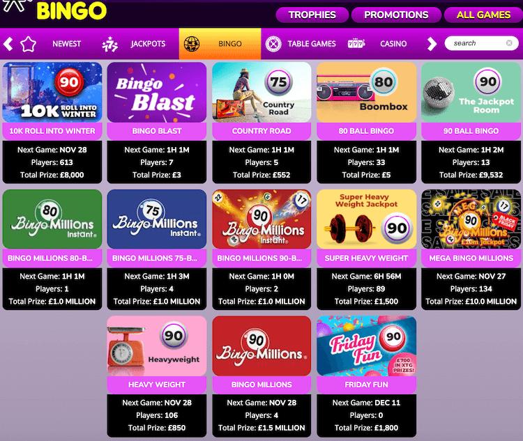 Bingo Games at Lights Camera Bingo