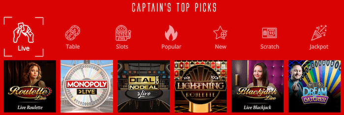 Captain Spins Live Casino